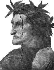 Danteportrait von Raffael aus dessen Disputa im Vatikan zu Rom